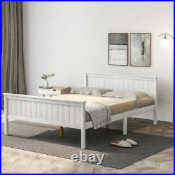 White Wooden Bed Frame 4FT6 Double Bed with Large Storage Space For Kids Adults