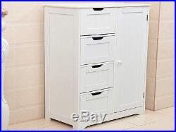 White Wooden Cabinet With 4 Drawers & Cupboard Floor Storage Bathroom / Bedroom