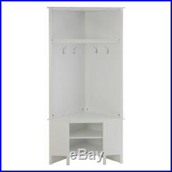 White Wooden Corner Coat Hooks Shoes Storage Bench Clothes Rack Hallway Shelving