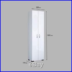 White Wooden Free Standing Double Door Tall Storage Cabinet Cupboard Shelf Unit