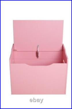 White Wooden Kids Toy Box Storage Unit Chest Ottoman Trunk Nursery Bedroom UK