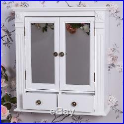 White Wooden Mirrored Bathroom Wall Cabinet Shabby Vintage Chic Cupboard Storage