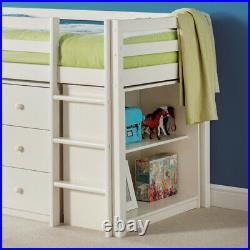 Wood Mid Sleeper Bed Storage Roxy Stone White 3ft Single with 4 Mattress Options