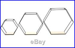 Wood Wire Hexagon Geometric Industrial Wall Unit Storage Shelves Set of Three