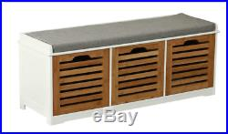 Wooden Bench Seat 3 Drawers Storage Baskets Hall Unit Furniture Shoe Cabinet