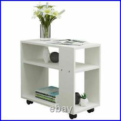 Wooden Coffee Tea Table Modern White Shelf Storage Living Room Home Furniture