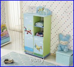 Wooden Kids Wardrobe Children Bedroom Storage Shelf Hanging Bar Clothes Cabinet