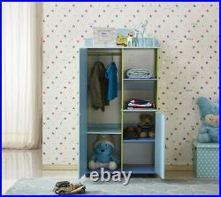 Wooden Kids Wardrobes Bedroom Cabinet with Clothes Hanging Bar & Storage Shelf UK