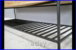 Wooden Ottoman Storage Bench Hallway Seat Shoe Rack Organiser Acacia Wood Iron