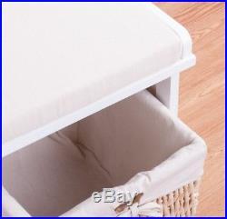 Wooden Shoe Storage Bench Cushion Seat Wicker Baskets Drawers Hallway White Unit