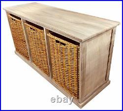 Wooden Storage Bench 3 Large Wicker Baskets Shoe Toy Cupboard Hallway