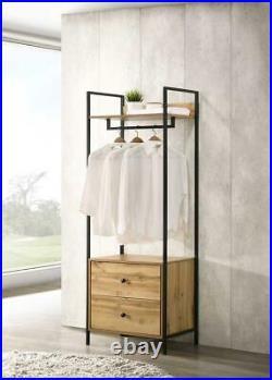 Zahra Bedroom Double Open Wardrobe 2 Drawers Furniture Storage Cupboard