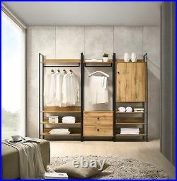 Zahra Bedroom Double Open Wardrobe 4 Shelves Furniture Storage Cupboard
