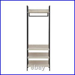 Zahra Bedroom Double Open Wardrobe 4 Shelves Furniture Storage Cupboard Ash Oak